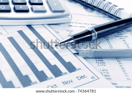 Background of business graph and stationary pen - stock photo