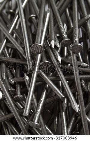 Background Of Carpentry Shiny Nails - stock photo