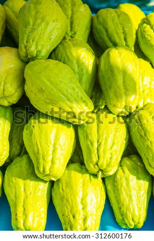 Background of Chayote fruits, Thailand. - stock photo