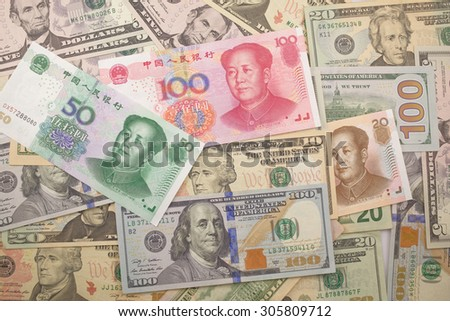 Background of chinese and USA bank notes