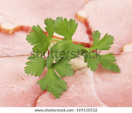 Background of chopped bacon and meat. Whole background - stock photo