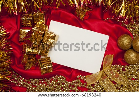 background of christmas decoration with a card
