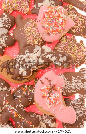 background of Christmas gingerbread coated with chocolate