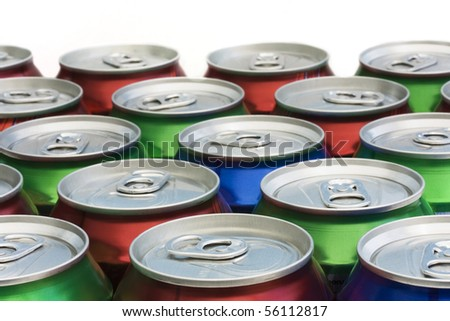background of closed drinks can tops - stock photo