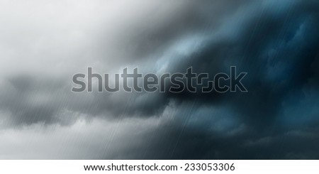 background of clouds and rain - stock photo