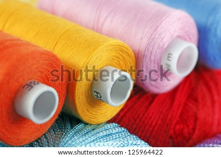 Background of color threads - stock photo