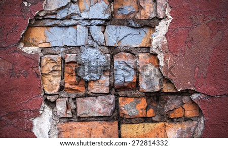 Background of colorful brick wall texture. brickwork. Peeling paint. Pattern of rustic grunge material. - stock photo