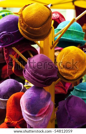 background of colorful hats - stock photo