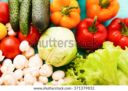 Background of colorful vegetables. Macro and selective focus. Top view