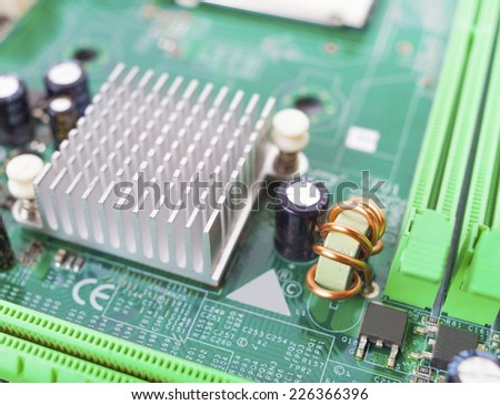 background of computer circuit board close-up and detail - stock photo
