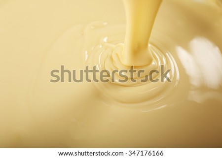 Background of condensed milk in a bowl, close-up - stock photo