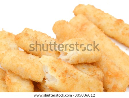 background of crunchy fish sticks isolated on white  - stock photo