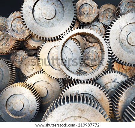 Background of 3d metal gears and cogwheels - stock photo
