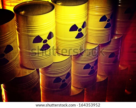 background of 3d yellow barel and radioactive sign - stock photo