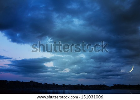 Background of dark sky before a thunder-storm  - stock photo