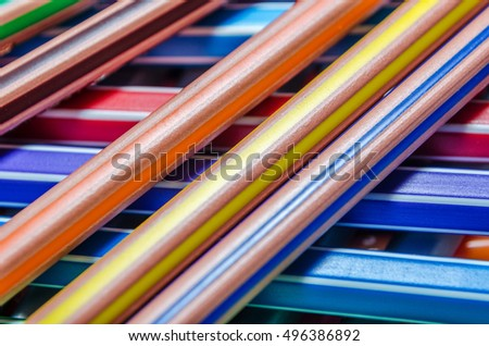 background of different colored pencils texture image macro