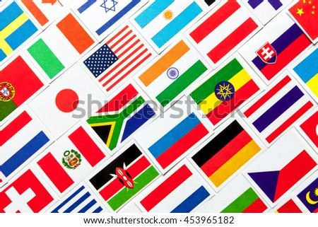 Background of different colorful national flags of the world. Diagonal collage - stock photo