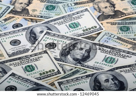 Background of $100 dollar bills and $20 dollar bills