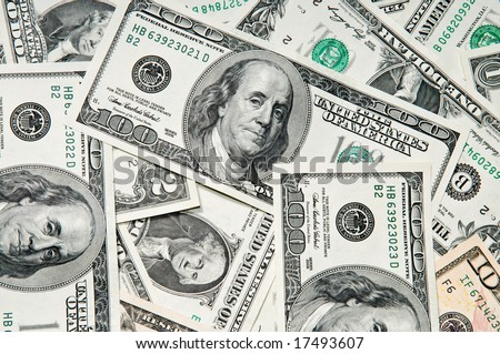 Background of dollar bills, closeup