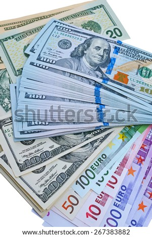 Background of dollars and euros. The quality of medium format - stock photo