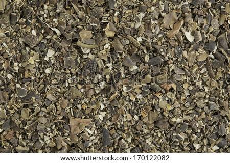 Background of dried bladderwrack seaweed (Fucus vesiculosus)  rich in iodine. Bladderwrack is a brown seaweed harvested from cool ocean waters around world. - stock photo