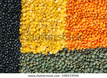 Background of dry lentil different varieties and colors: red, green french lentils, black beluga, yellow split - stock photo