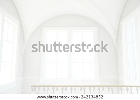 Background of empty big white classical room render with round vault ceiling above rectangular day light windows concrete frame  in clear texture gray wall high key backdrop  - stock photo