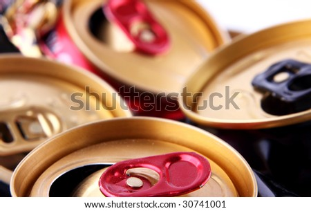 background of empty cans - stock photo