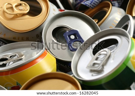 background of empty cans - recycling idea - stock photo