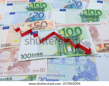 Background of euro and arrow down - stock photo