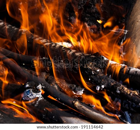 Background of Flames and Glowing Embers - stock photo