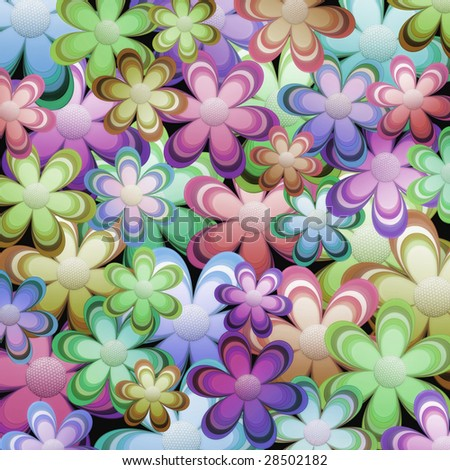 Background of flowers in pastel colors - stock photo