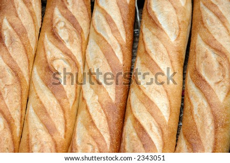 Background of French bread baguettes