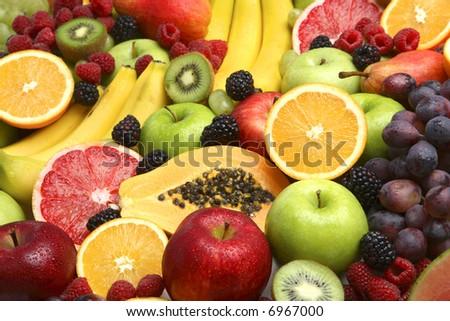 Background of fresh fruit - stock photo