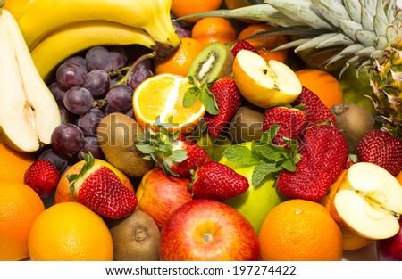 background of fresh fruits bunch berry, banana