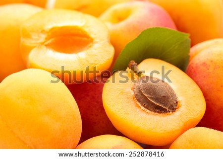 Background of fresh ripe apricots. With leaf. - stock photo