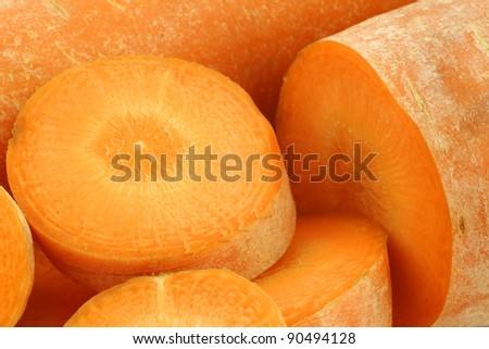 background of freshly cut winter carrots