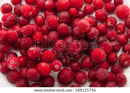 background of frozen cranberries - stock photo