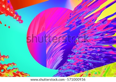 Background of glitch manipulations. Colorful illusion of shapes and optical distortion. It can be used for web design, printed products and visualization of music.