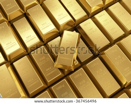 background of gold bars close up  - stock photo