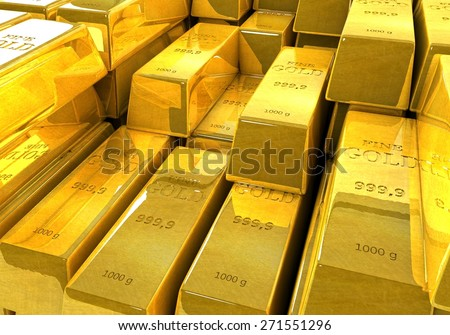 Background of gold bars. 3D