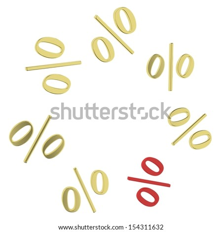 Background of gold per cent and one red percent. Design template - stock photo