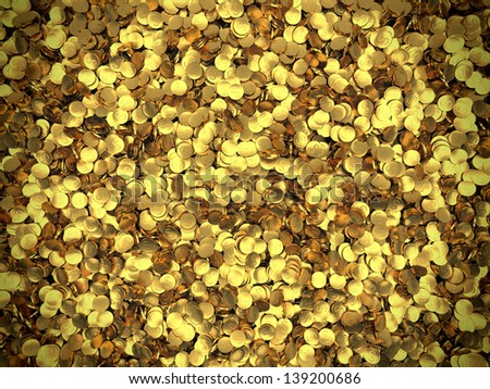 Background of golden coins piled in a heap. Storage of gold. Success and Wealth. - stock photo