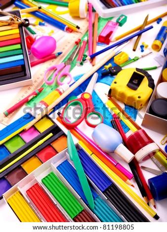 Background of group art school utensils. - stock photo