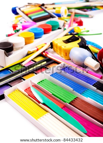 Background of group school supplies. - stock photo