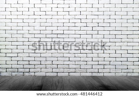 Background of grungy texture white brick and stone wall with light wooden gray floor