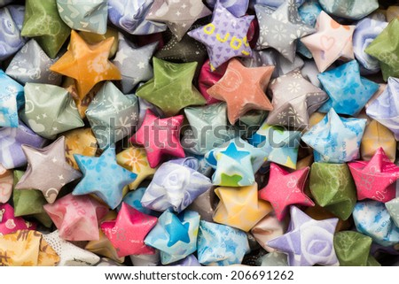 Background of Hand Made Lucky Star of Various Color and Textures - stock photo