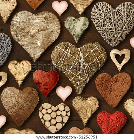 Background of heart-shaped things made of wood. - stock photo