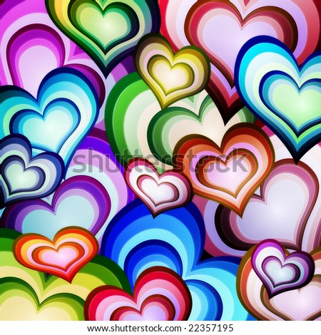 background of hearts - stock photo