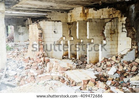 background of Interior of a ruined abandoned building with white tile - stock photo